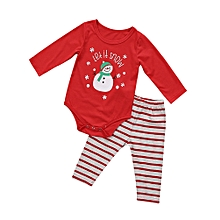 27d4df807 2Pcs Newborn Baby Boys Snowman Tops Romper Striped Pants Outfit XMAS Clothes  Set