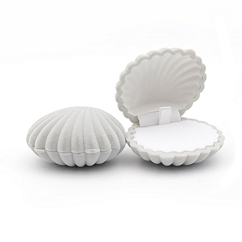 Shell Shape Ring Box For Earrings Necklace Bracelet Jewelry Display Box Holder Grey