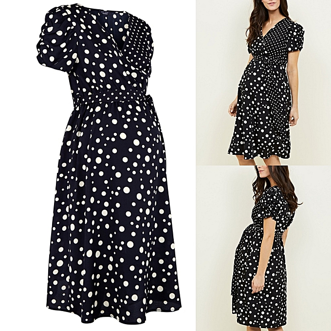 a3a53ae95f7 New Look Black Spot Print Wrap Maternity Dress