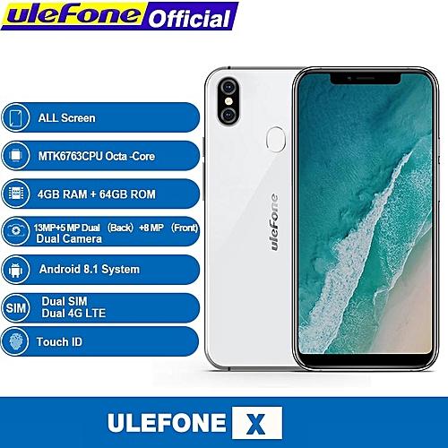 X - 5.85-inch (4GB, 64GB ROM) Android 8.1, 3300mAh, 16 MP & 5 MP + 13 MP, Dual Sim 4G LTE Smartphone - White