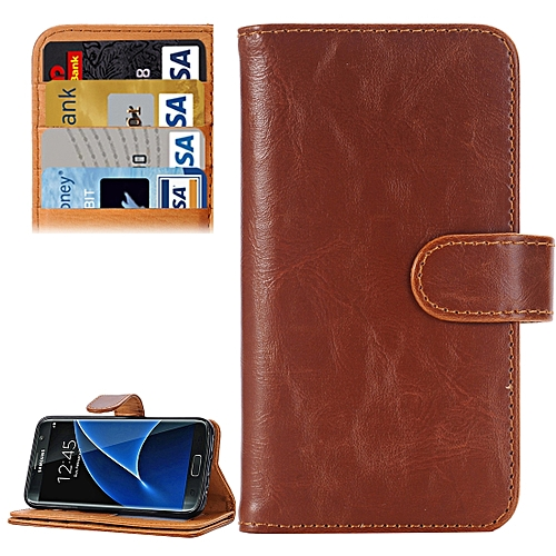 Generic For Samsung Galaxy S7/G930 Crazy Horse Texture Horizontal Flip Leather Case With 3 Pages Of Card Slots & Wallet & Holder (Brown)
