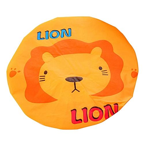 Cute Cartoon Animal Waterproof Shower Cap Resuable Lace Elastic Band Bath Hair Caps Hat Style:Lion