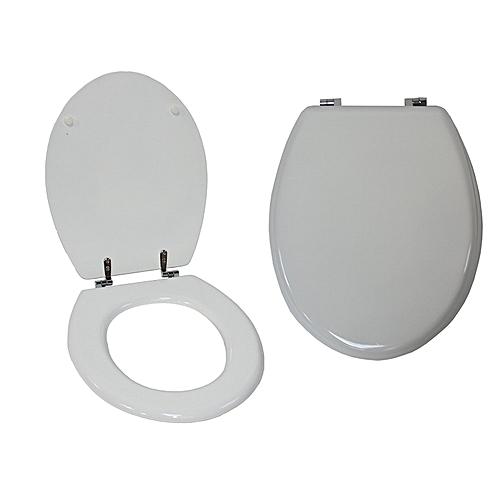 """Luxury 18"""" Toilet Seats, Shiny White, MDF Wood, Adjustable Chrome Fittings"""