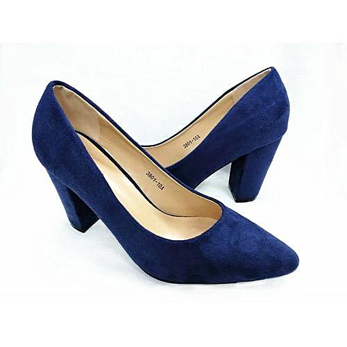 Vivienne Suede Pointed Lady Block Heel Covered Shoe - Navy