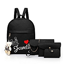 63d1da7bd8 Girls Backpack School Bag Shoulder Bag Handbag 4pcs Black