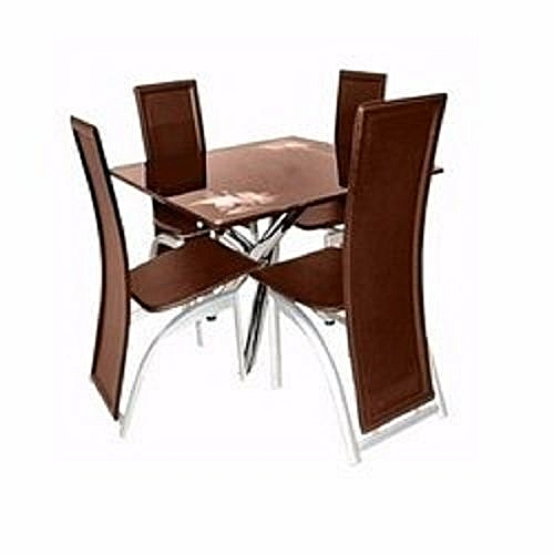 Square Dining Table With 4 Seater (Brown) (Lagos Delivery Only)