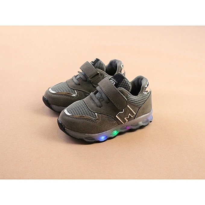 61171268f745f Paidndh Store Toddler Kids Mesh Shoes Children Baby Shoes LED Light Up  Luminous Sneakers-Gary