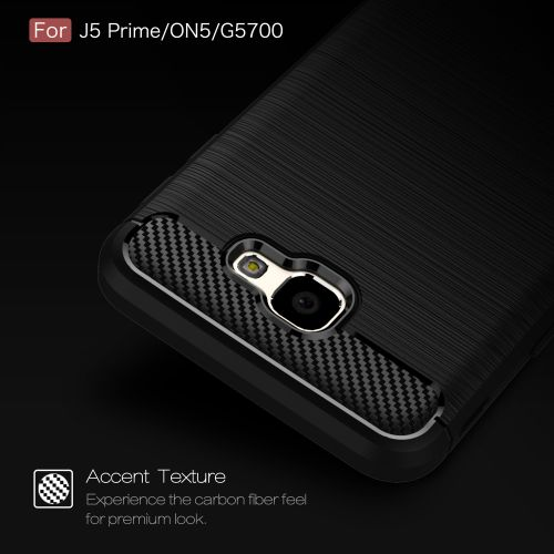 Generic For Galaxy J5 Prime Case, Ultra-thin Brushed Carbon Fiber Shockproof Anti-