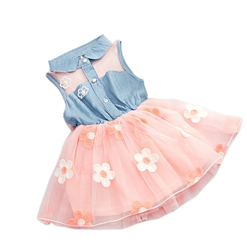 Baby Girls Summer Dress With Bowknot Pink