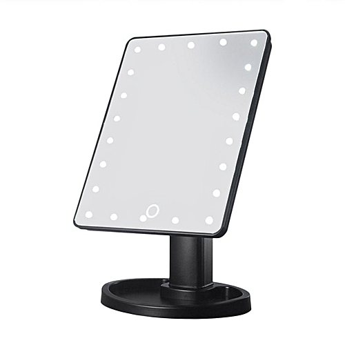 22LED Women Facial Makeup Mirror 360 Degree Rotation Tabletop Cosmetic Mirror Black