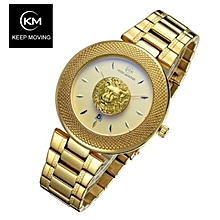 33506874a60 Lion Head Gold Steel Men  039 s Wrist Watch ...