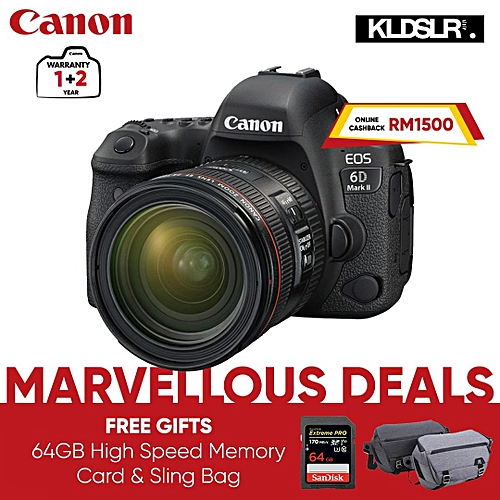 EOS 6D Mark II DSLR Camera With EF 24-70mm Lens (FREE Sling Bag & 64GB High Speed Memory Card Upon Purchase)