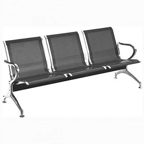 Office Reception Waiting Chair - 3-seater - Black