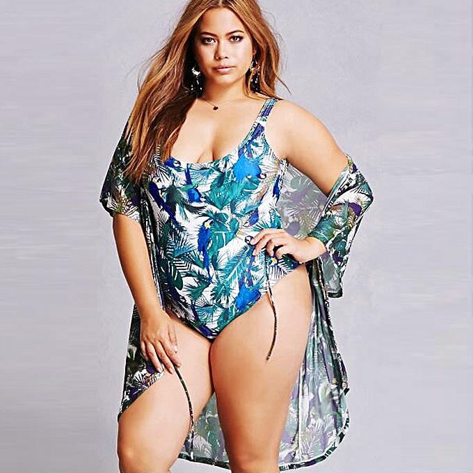 b90a8af646 Women Plus Size One Piece Monokini Swimwear Push Up Padded Bikini Swimsuit