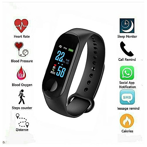 M3 Smart Watch Bracelet Fitness Tracker Color LED Sports BP