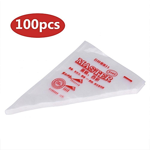 100pcs Food Grade Plastic Icing Piping Bags Pastry Fondant Cake Decorating Bag Tool (S)