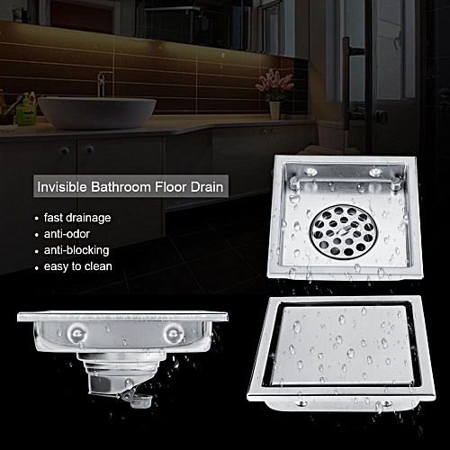 Home Stainless Steel Square Shape Anti-odor Bathroom Floor Drain Waste Gate Shower Drainer