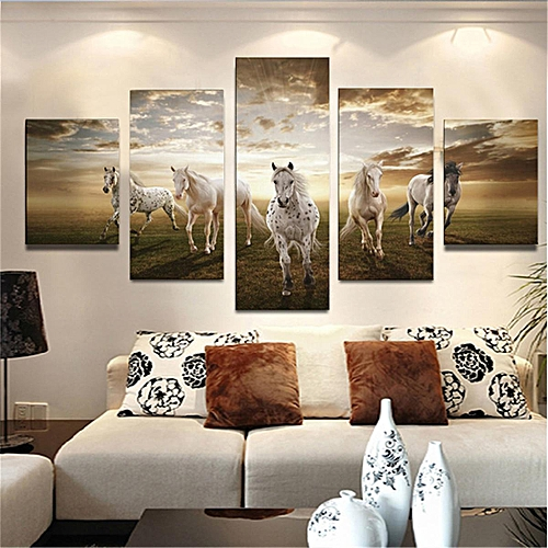 (No Frame)5 Panel Art Pictures Running Horse Large HD Modern Home Wall Decor Abstract Canvas Oil Painting