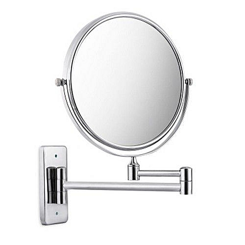 Chrome Finish 8 Inch Double Sides Swivel Wall Mounted Makeup Mirror Square Base (SILVER)