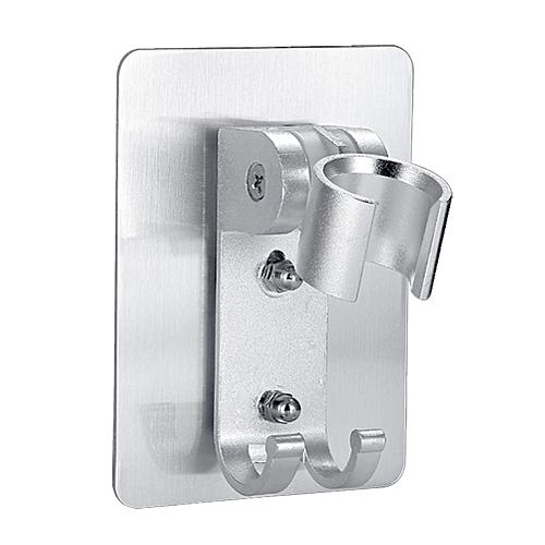 Wall Mounted Shower Head Bracket With 2 Hanger Hooks Holder Rotating Adjustable Shower Head Stand Ba