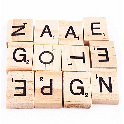 100pcs Wooden Alphabet Scrabble Tiles Black Letters Numbers For Crafts Wood