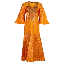 Ladies Long Brocade and Lace Kaftan with Beautiful Embroidery and Wrapper- Orange