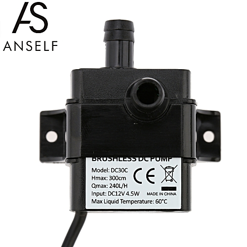 Anself Ultra-quiet Mini DC12V 4.5W Micro Brushless Water Oil Pump Waterproof Submersible Fountain Aquarium Circulating 240L/H Lift 300cm