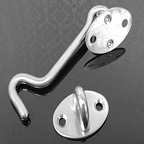 1 Set Stainless Steel Cabin Hook And Eye Latch Lock Shed Gate Door Catch Silent Holder