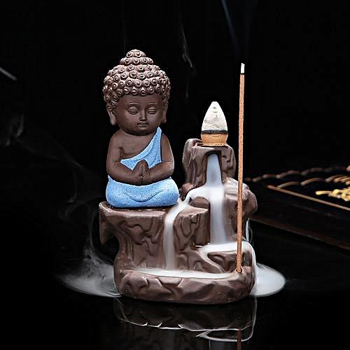 Ceramic Small Buddha Cone Smoke Back-flow Incense Burner Stick Holder Decoration (Blue)