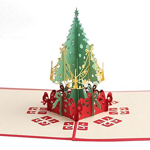 Christnas Handmade Cards 3D Pop Up Tree Invitation Greeting