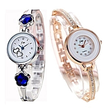 e19b77fdc974 2-in-1 Bracelet Ladies Watch - Rose Gold And Silver With Royal Blue
