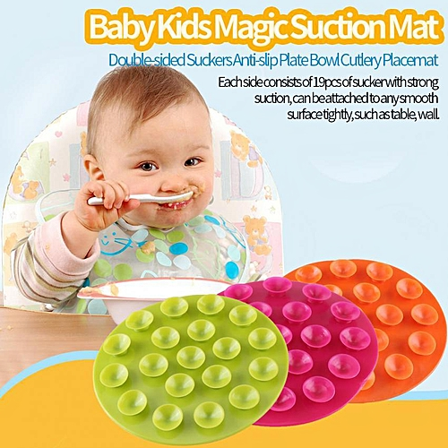 Baby Kids Magic Suction Mat Double-sided Suckers Anti-slip Plate Bowl Cutlery Placemat(Green)