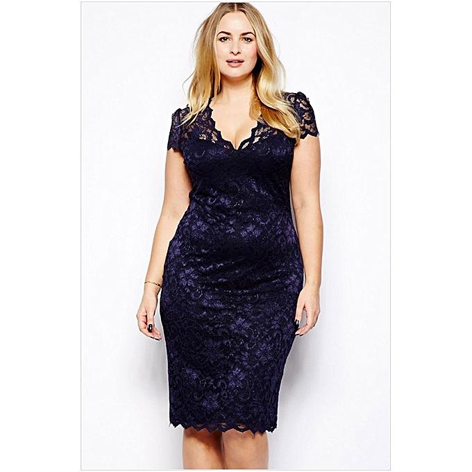 de5b4a9709a ... Women Sexy Hollow Out V Neck Lace Dress Slim Fit Plus Size Midi Dresses  - Azul ...