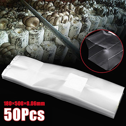 50 Large Mushroom Substrate Grow Bags .5 Micron Filter Patch High Temp