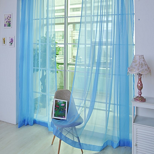 Bioaldla Store 2 PCS Pure Color Tulle Door Window Curtain Drape Panel Sheer Scarf Valances