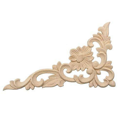 New Wood Carved Decal Corner Onlay Applique Frame Door Furniture Decor Unpainted -- 17*10cm Right/25*15cm Right/25*15cm Left