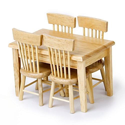 Dining Table Chair Model Set Miniature Furniture Wooden 5pcs