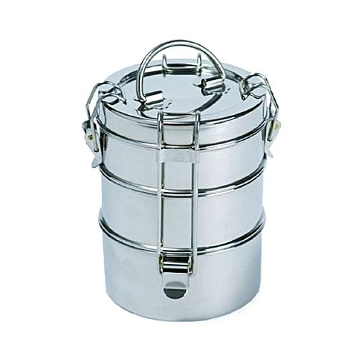 Three-Tiered Stackable Stainless Food Storage - Silver