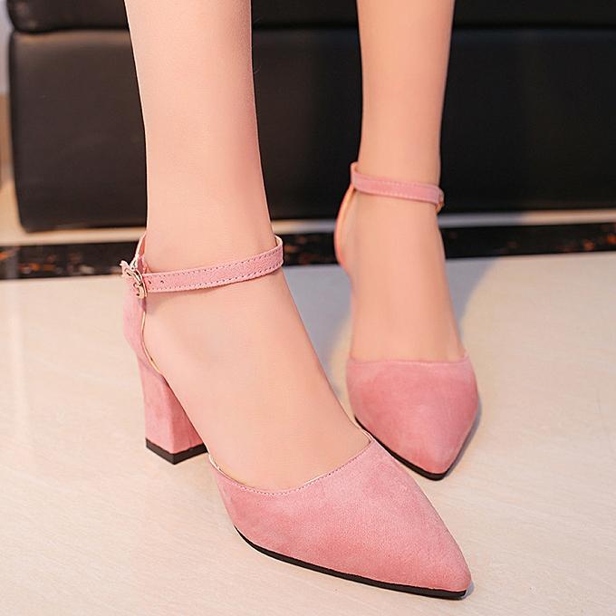 5c6b753334b Women Suede Ankle Strap Block High Heels Pointed Toe Ladies Simple Pumps  Shoes