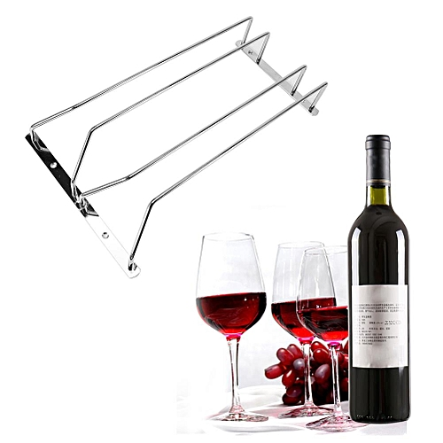 Stainless Steel Red Wine Cup Stemware Cabinet Mounted Holder Bar Pub Hanging Rack (#Two Row)