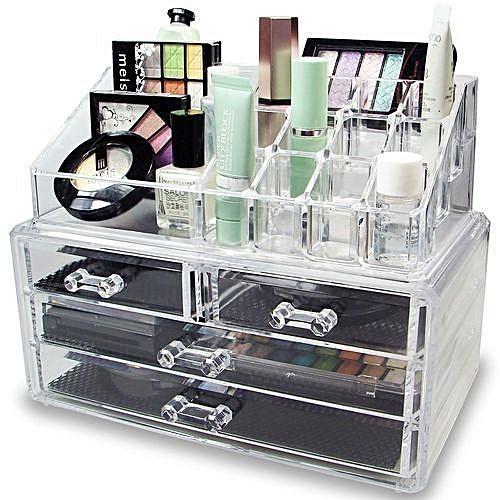 4 Drawer Transparent Acrylic Makeup Bag Cosmetic Organizer Storage Box