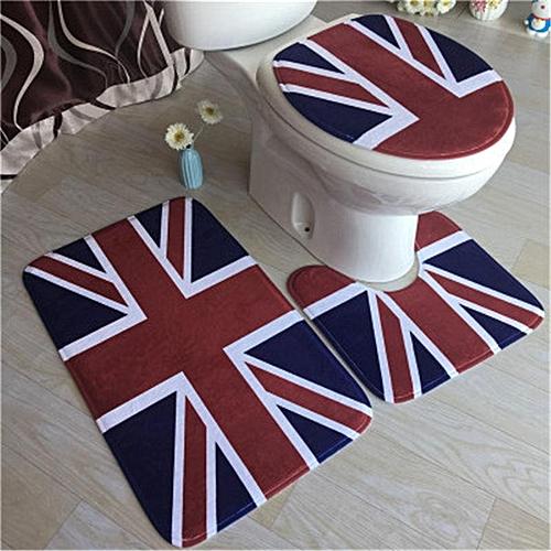 3Pcs Easy Absorb Water Bathroom Mats Non Slip Pedestal Rug+Lid Toilet Cover+Floor Mat Carpet For Toilet Bathroom Accessories Set