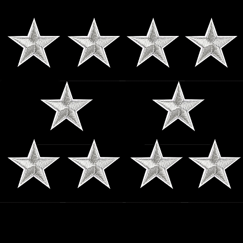 10PCs Silver Stars Embroidered Badges Iron On Patches Motif Applique Stickers