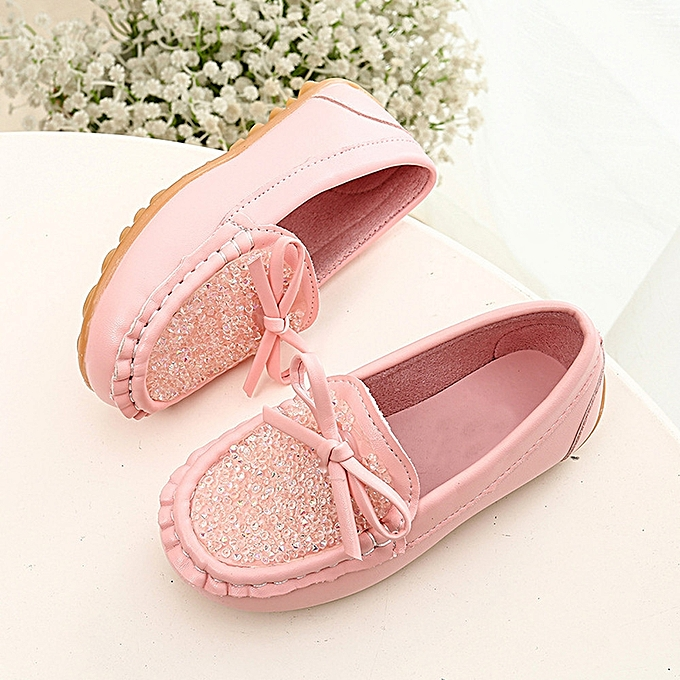 5b876be3db297 Toddler Baby Girls Cute Bowknot Soft Round Casual Peas Flat Shoes - Pink