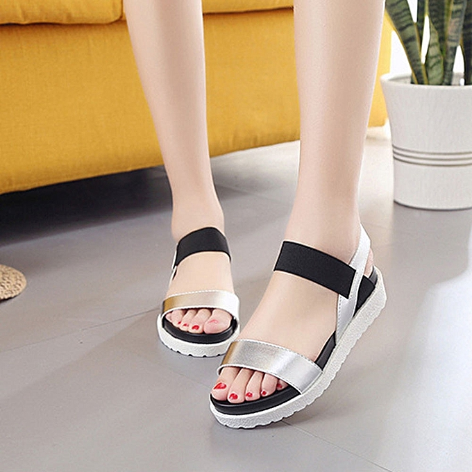 1c0db0a45 ... Fashion Sandals Women Aged Leather Flat Sandals Ladies Shoes Silver 36  ...