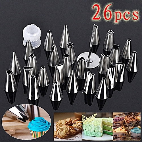 26pcs/set Stainless Steel Icing Piping Nozzles Pastry Tips Cake Cupcake Decorating Tools Box Set