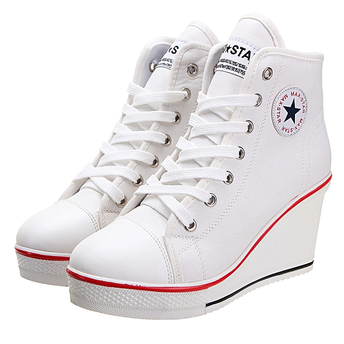 5abc31918765 Fashion Women Wedges Trainers Heels Sneakers Platform High Top Ankles Lace  Up Zip Boots Canvas
