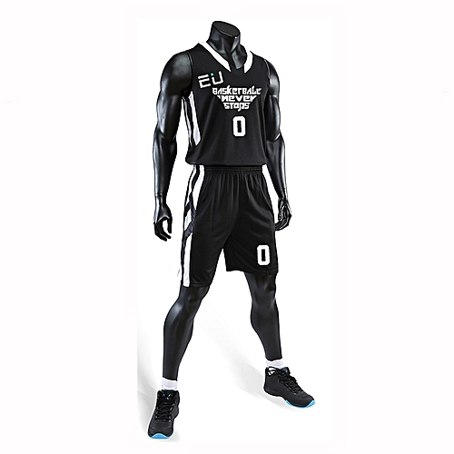 Eufy Best Sale Customized Casual Men's Basketball Team Sport Jersey Uniform-Black(3035)