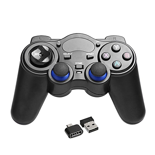 2.4GHz Wireless Game Controller Handle Gamepad Joystick With OTG Converter Black