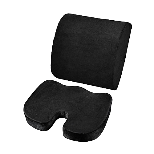 DM 2PCS/SET Comfortable Memory Foam Orthopedic Seat Cushion Waist Back Support-black
